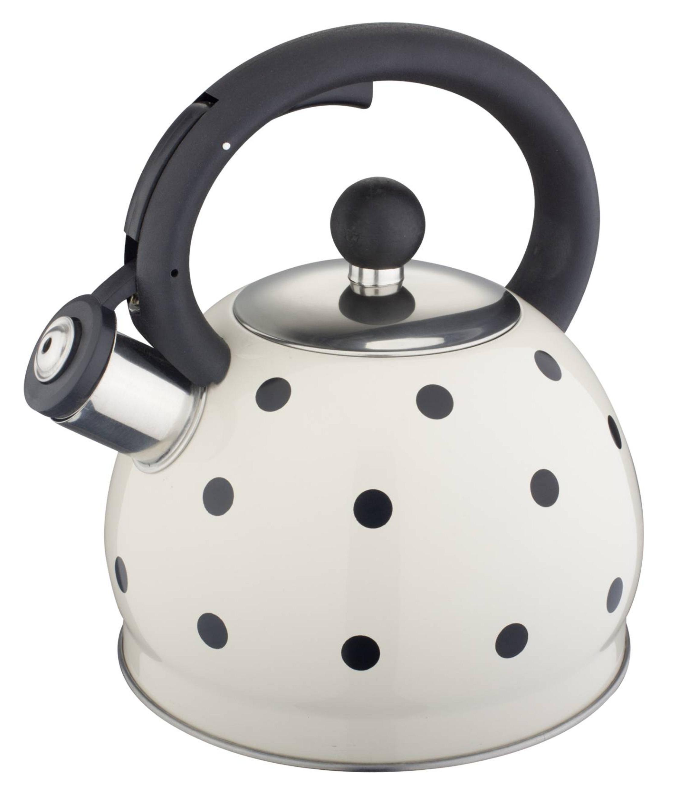 Чайник со свистком 2 л Белый в черный горох HM 5528/1
